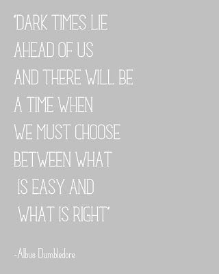 Dark times lie ahead of us and there will be a time when we must choose between what is easy and what is right.  ~ Albus Dumbledore