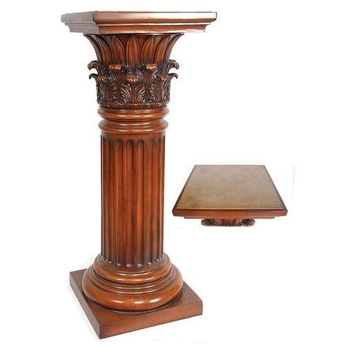 Classical Corinthian Capital Pedestal Table Plant Bust Stand - Column pedestal plant stand
