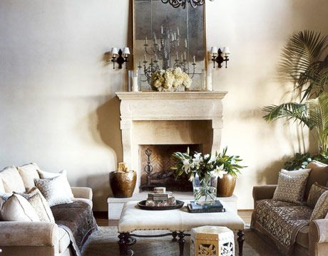 Love this fireplace in a living room designed by Christina Rottman