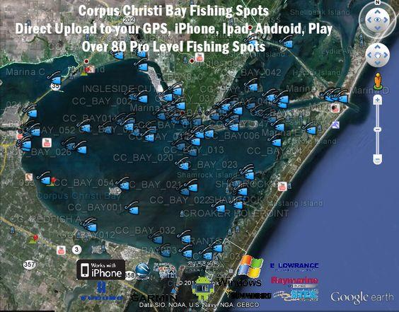 Corpus christi bay fishing map texas fishing maps for South texas fishing