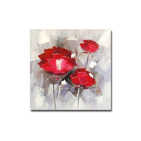 tableau peinture l 39 huile fleur rouge art flowers pinterest rouge. Black Bedroom Furniture Sets. Home Design Ideas
