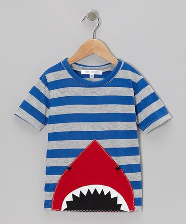 Take a look at this Blue & Gray Stripe Peekaboo Shark Tee - Toddler & Boys by little bits on #zulily today!