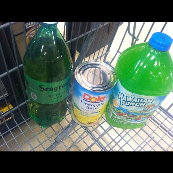 Standard punch recipe....  Gallon any color punch, 2 ltr Ginger Ale and lrg can pineapple juice.  Delicious!