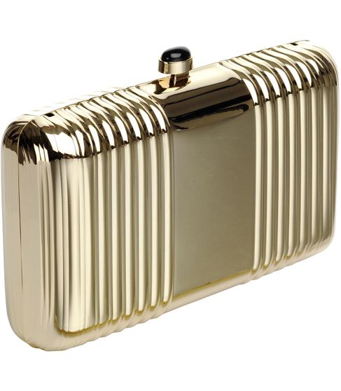 Reiss Mabel Gold Clutch by reissonline: Made of metal with a clip clasp closure  On sale, $136 #Handbag #Gold_Clutch