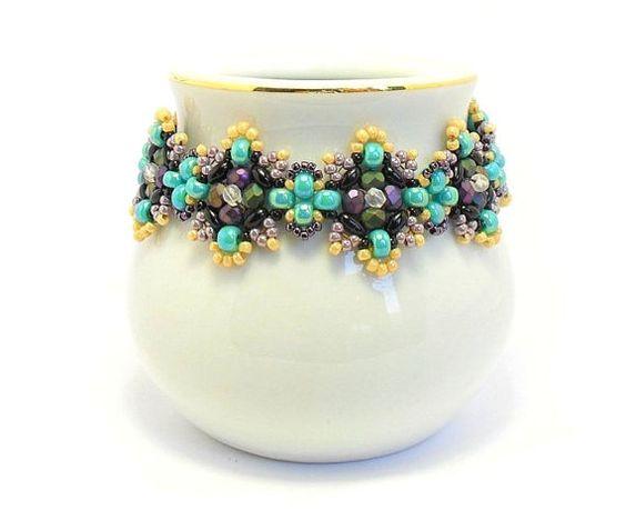 PDF PATTERN Beaded Bracelet Candice Tutorial by CrownofStones, €4.80