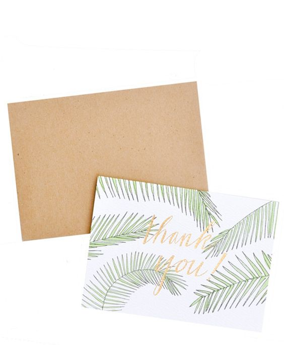 Palm Leaf Thank You Card Set