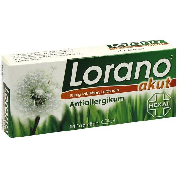 LORANO akut Tabletten bei Allergie und Heuschnupfen:   Packungsinhalt: 14 St Tabletten PZN: 01691621 Hersteller: Hexal AG Preis: 3,14 EUR…