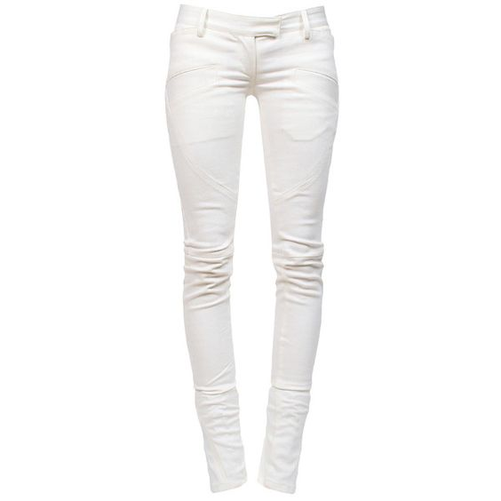 BALMAIN Biker Jeans Dirty White ($1120) ❤ liked on Polyvore