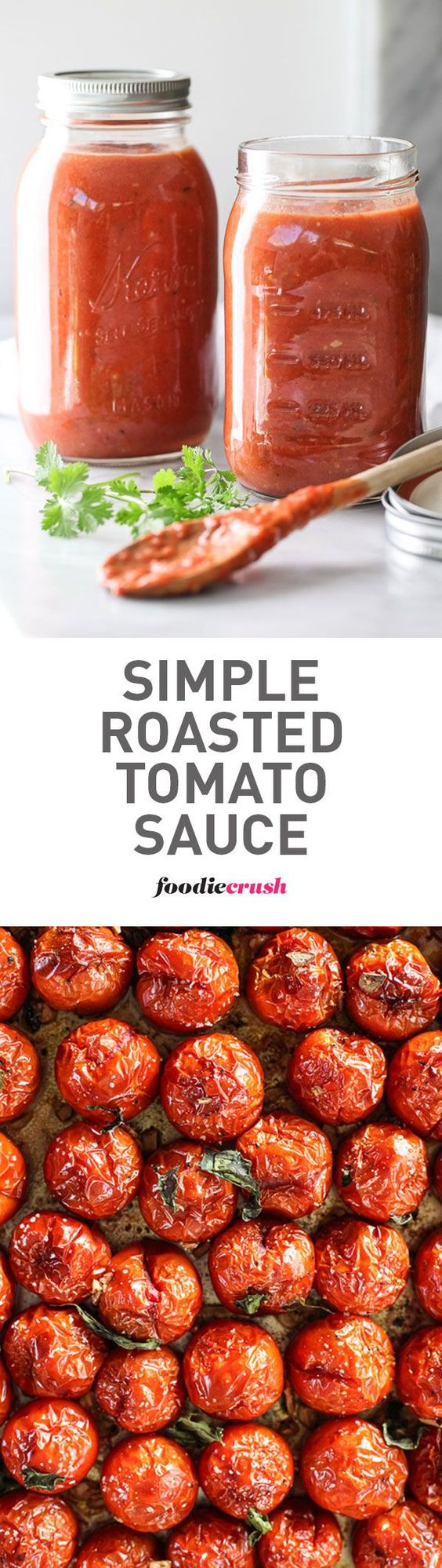 The secret to this favorite sauce #recipe starts with fresh tomatoes that are roasted in the oven to make them extra sweet all year round | http://foodiecrush.com