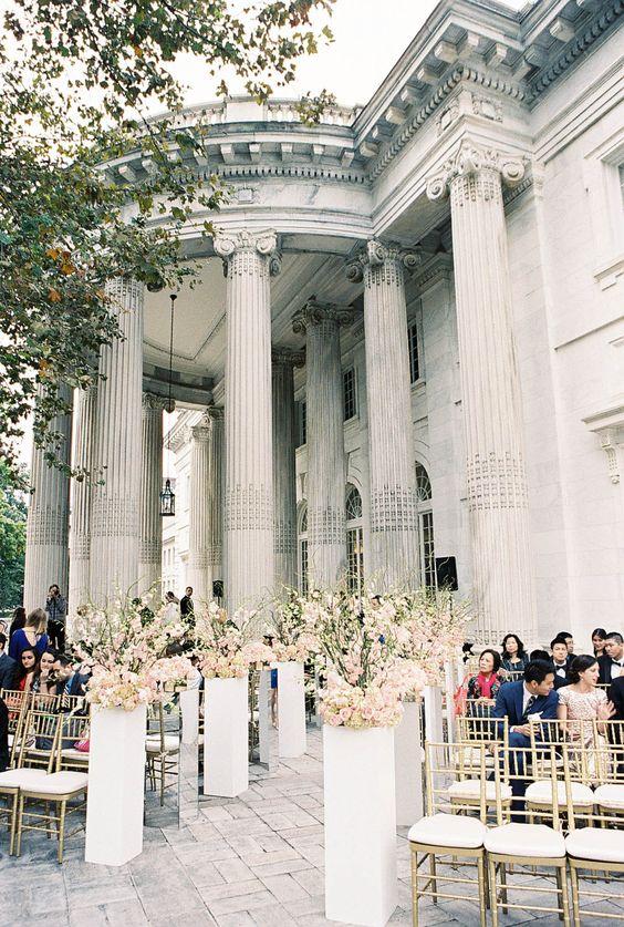 Photography : Adam Barnes Fine Art Photography | Wedding Venue : DAR-Constitution Hall | Floral Design : Da Vinci Florist Read More on SMP: http://www.stylemepretty.com/washington-dc-weddings/2015/05/16/gold-green-washington-dc-wedding/