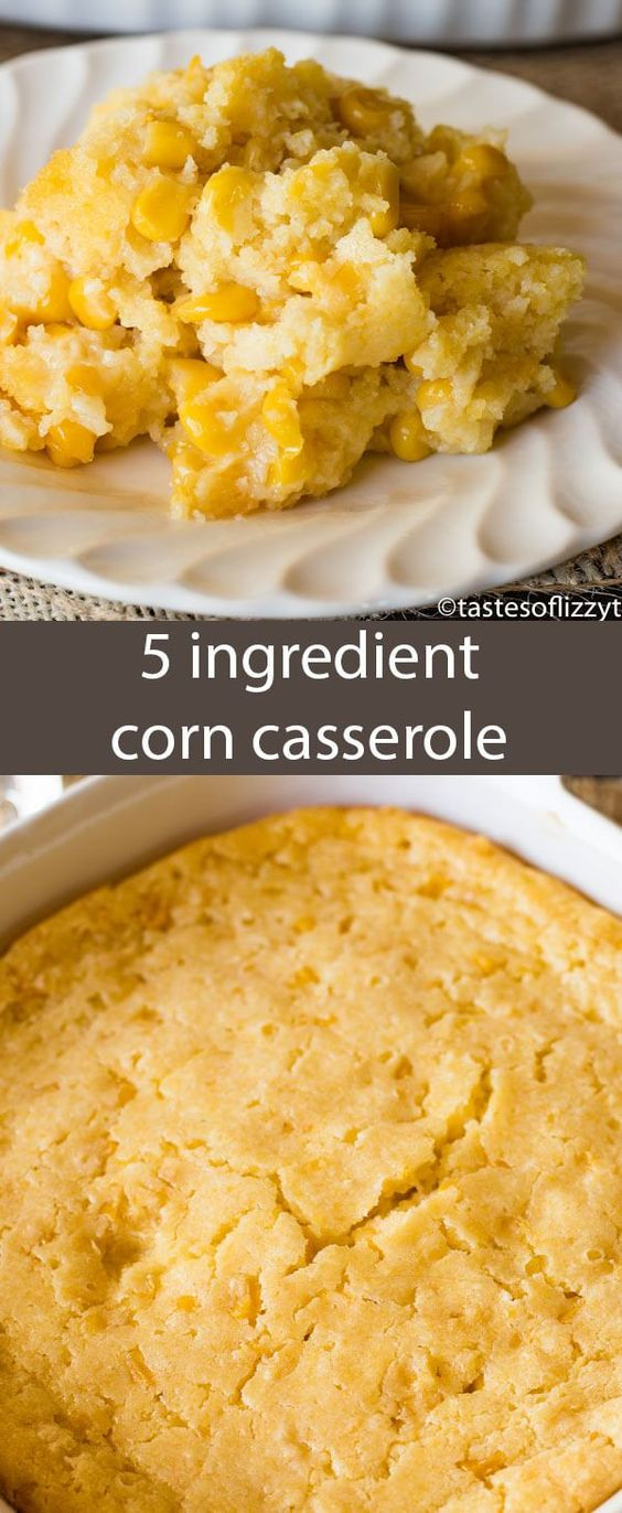 This no-fail corn 5 ingredient corn casserole recipe is versatile and bakes up into a savory side dish that will complement any meal. via @tastesoflizzyt #corncasserole #5ingredients #corn #sidedish