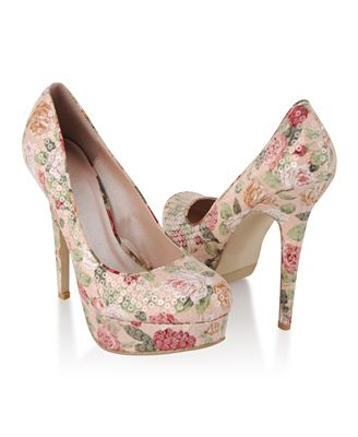 Sequined Floral Heels - $24.80 - Floral & Sequins together as one, what a dream!