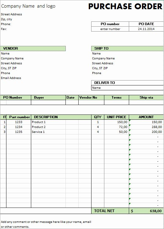 Order Form Template Excel Luxury Excel Template Free Purchase
