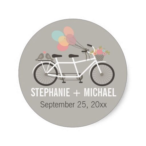 Tandem Bicycle Wedding Round Stickers