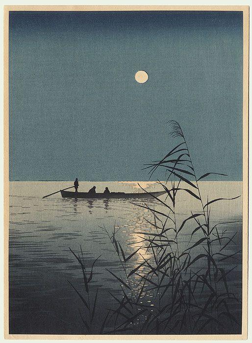 Fishing Boat on Moonlit Sea (Left) by Koho Shoda (1871 - 1946)