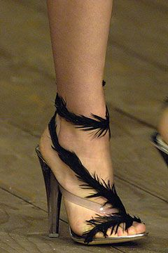 Alexander McQueen feather shoes