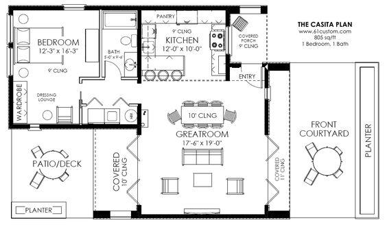 Casta floor plans casita house plan 860 for Small casita floor plans