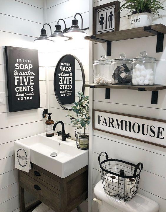 50 Awesome Diy Farmhouse Wall Decoration Ideas Bathroom Farmhouse Style Farmhouse Bathroom Decor Small Bathroom Decor