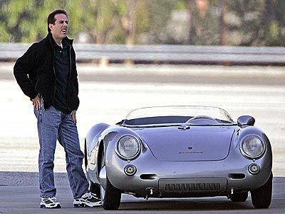 Jerry Seinfeld in his Porsche 550 Spyder