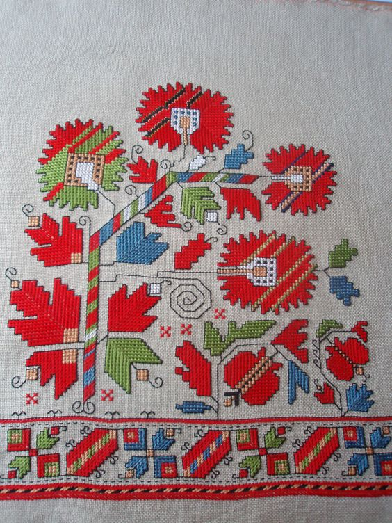 """Embroidered motifs of a woman's chemise, Sofia region.""""Marigold"""". My work."""
