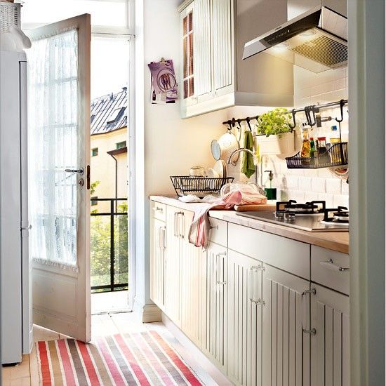Cottage Galley Kitchen Ideas: Faktum Cabinets In Stat Off-White By Ikea