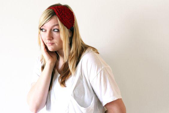 Red Leaf Headband. Crochet, Burgundy, Simple, Pretty, Black Button.. $20.00, via Etsy.