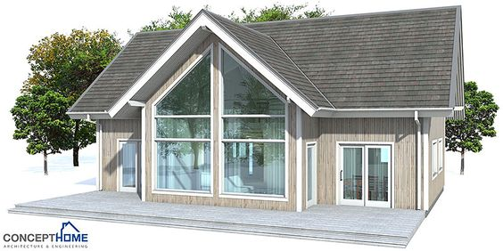 Small house plan with four bedrooms. Vaulted high ceiling in the living areas. Small home design with affordable building budget.