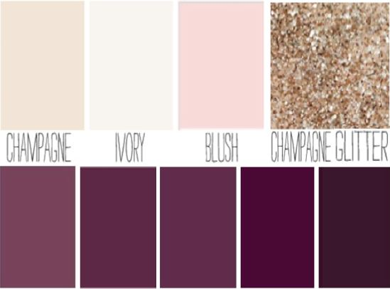 Blush, plum, ivory, champagne sparkle wedding color palette.