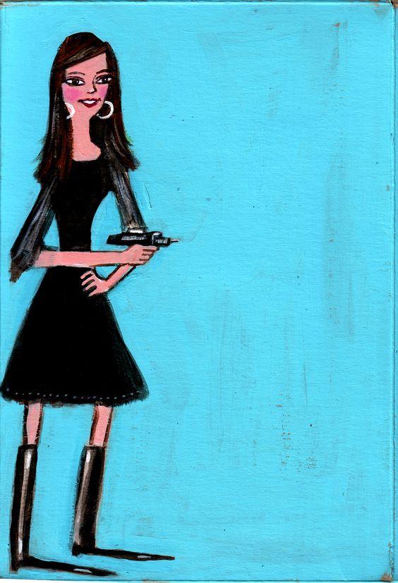 I love this so much. Black dress, black boot, Phaser gun, will travel.   Art by @Dawn Schreiner, modeled by Audrey Kearns