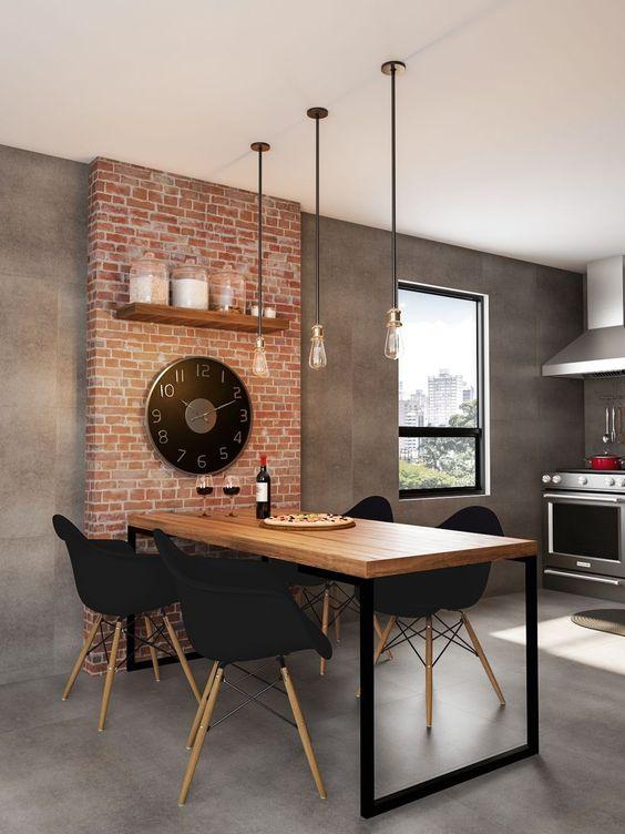 Decoração rústica da sala de jantar com mesa retangular e cadeiras pretas + luzes pendentes #ad #mobly #decoração #cozinha #saladejantar #mesa #mesadejantar