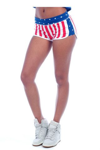 These US Flag French Terry Shorts are a blend of 60% combed cotton and 40% polyester. The perfect shorts for every workout!