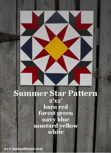 Painted Wood Barn Quilt, Summer Star Pattern: