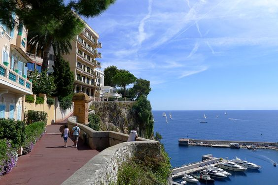A beautiful clifftop walk from Palace to Cathedral and Oceanography Museum, Monaco-Ville