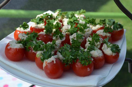 Chicken or tuna salad stuffed cherry tomatoes