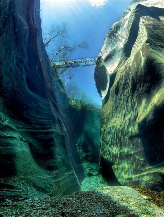 One of the clearest waters of the world, Verzasca River - Switzerland