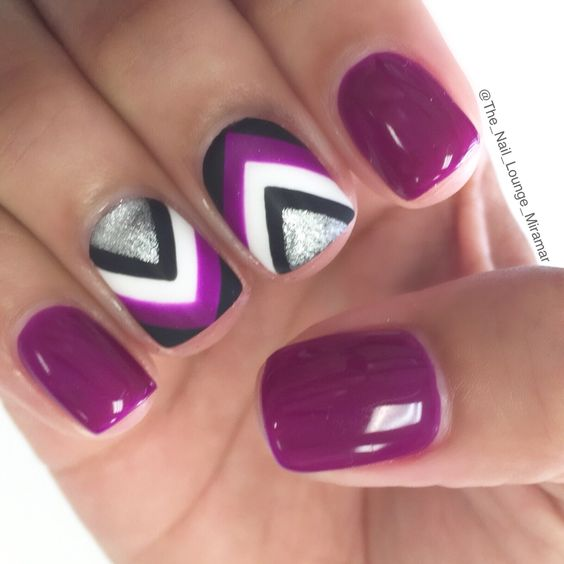 Purple chevron nail art design