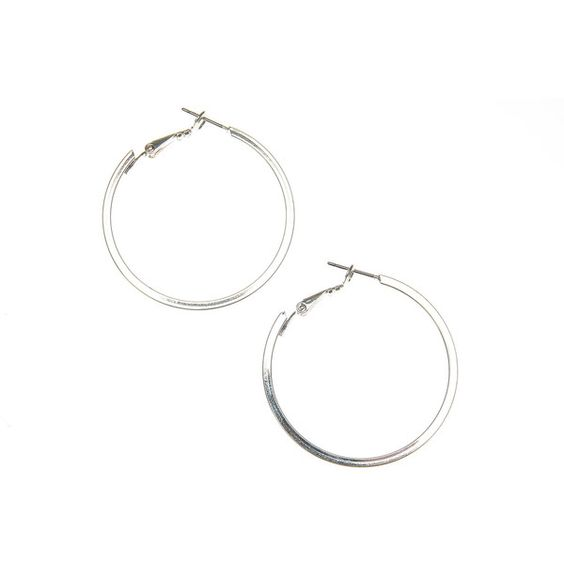 Small Thick 40mm Silver Hoop Earrings, Hoops, all, Jewellery, Earrings... ($4.47) ❤ liked on Polyvore featuring jewelry, earrings, silver jewelry, silver earrings, silver hoop earrings, silver jewellery and hoop earrings