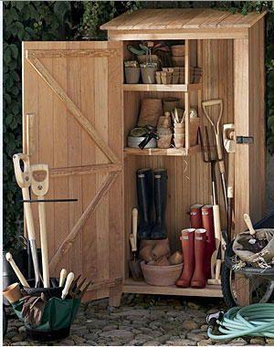 Garden tools garden sheds pinterest gardens for Wooden garden tool shed