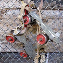 Metal roller skates.