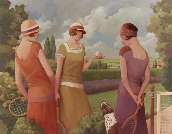 "Jacqueline, Tennis Date, 24x36"", oil on canvas. http://www.jacquelineosborn.com/:"