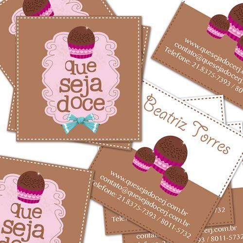 Marca e cartões de visita da Que Seja Doce - www.quesejadocerj.com.br - Design de Rafael Rafic