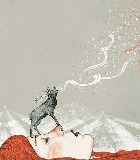 Deer Lady // A3 print by SandraDieckmann on Etsy, £16.00