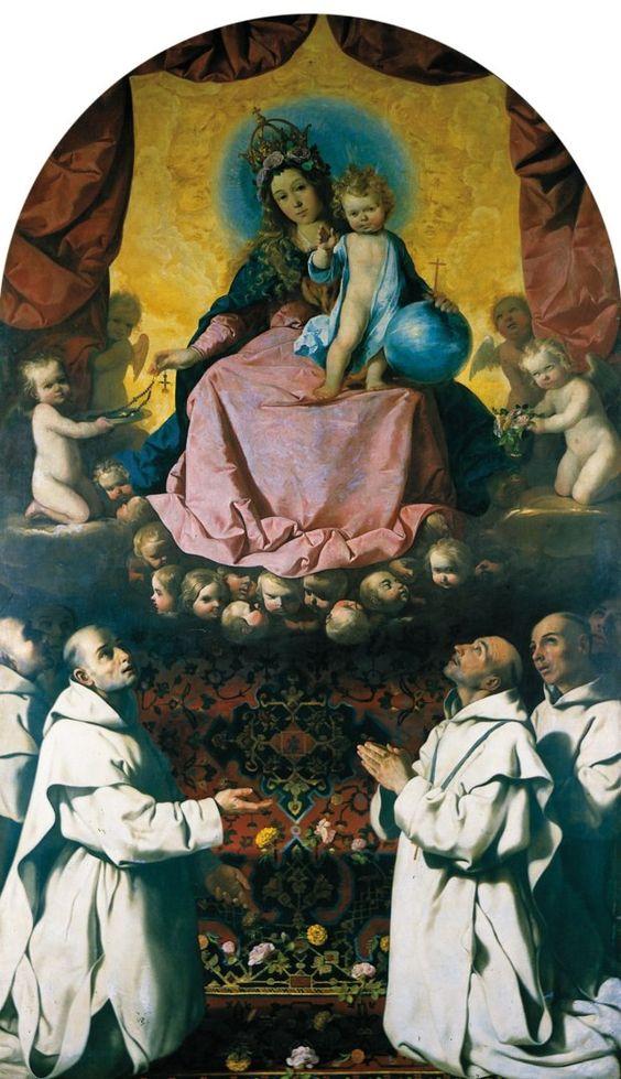 Virgin of the Rosary with Carthusian Monks, by Francisco de Zurbarán