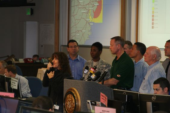Governor O'Malley answering questions from news crews during Hurricane Sandy.