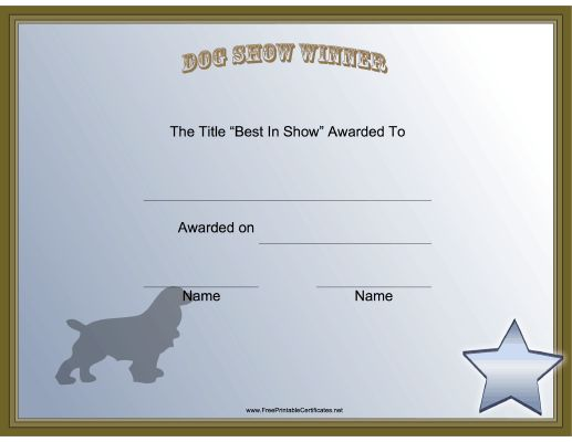 this printable certificate honors the winner in the best of show dog certificates - Dog Show Certificate Template
