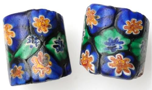 ¤ Antique Beads A pair of rare slanted Venetian millefiori #6246 Average size: 16 x 14mm Date: Early 1900s.