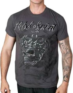 Rebel Spirit Skull Crown T-Shirt (Charcoal)