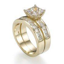 Holyland-2.2 CT PRINCESS REAL DIAMOND PROMISE RING 14K YG GOLD 6