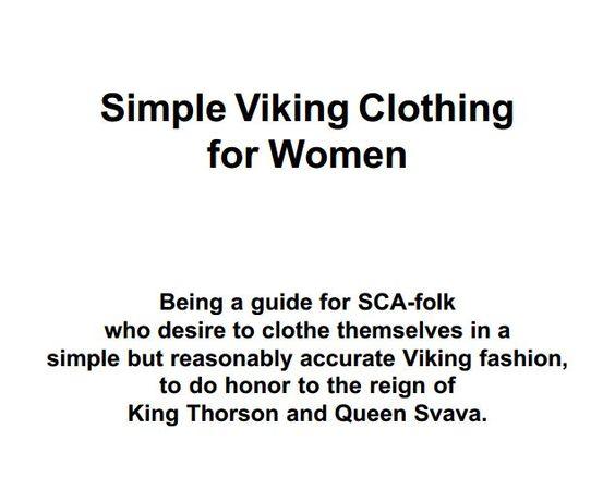 Viking clothing for women http://thorsonandsvava.sccspirit.com/pdf_files/Viking_handout_women.pdf