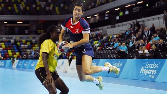 Team GB V Angola in action at the London prepares Handball Cup held in the Copper Box on the Olympic Park.
